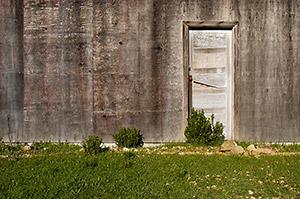 Door to abandoned barn. Russian Ridge Open Space Preserve. California.