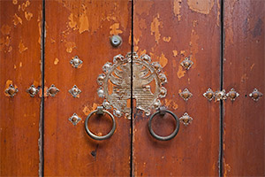 A close-up view of the door to a traditional Korean home, or hanok.