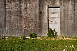 Door to abandoned barn. Russian Ridge Open Space Preserve. California.